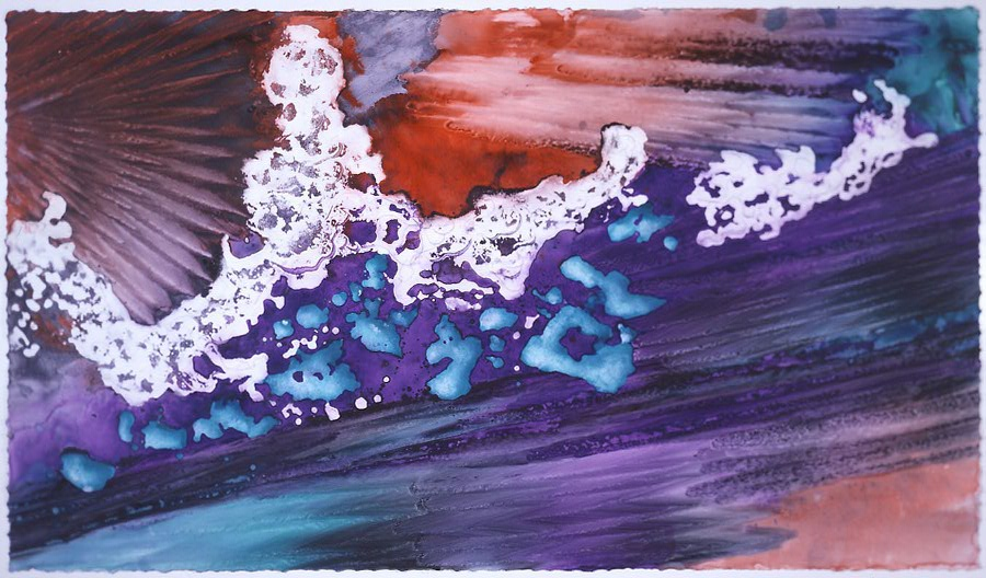 """""""Turquoise Floating on Purple"""" 1999, Turquoise Floating Series, acrylic on paper, 42 x 72 in (107 x 183 cm)."""