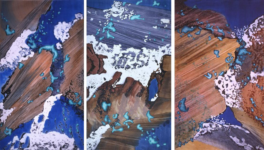 """Turquoise Floating I, II, III"" 2003, Turquoise Floating Series, acrylic on canvas, triptych, each 18 x 10 feet (549 x 305 cm)."