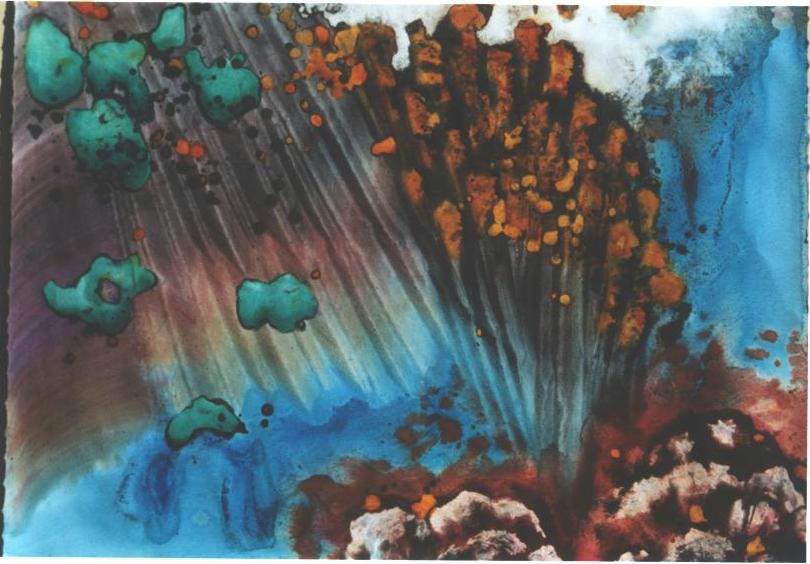 """Golden Flower"", Turquoise Floating Series."