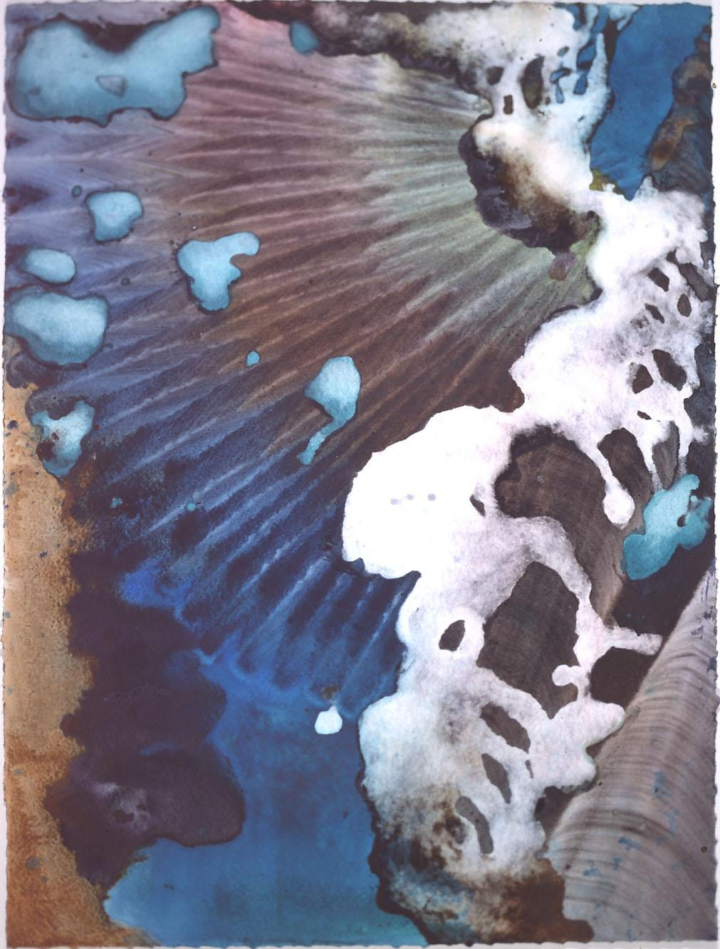 """""""Turquoise Floating"""" 1999, Turquoise Floating Series, acrylic on paper, 42 x 32 inches (107 x 81 cm)."""