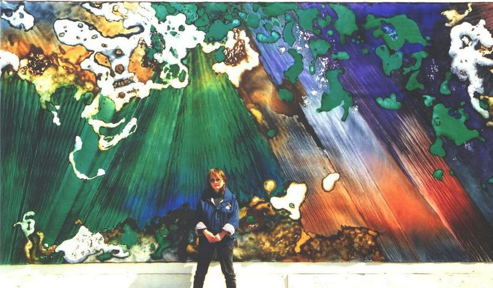"""Emerald Forest I"" 2000, Emerald Forest Series, acrylic on canvas, 10 x 20 feet (305 x 610 cm)."