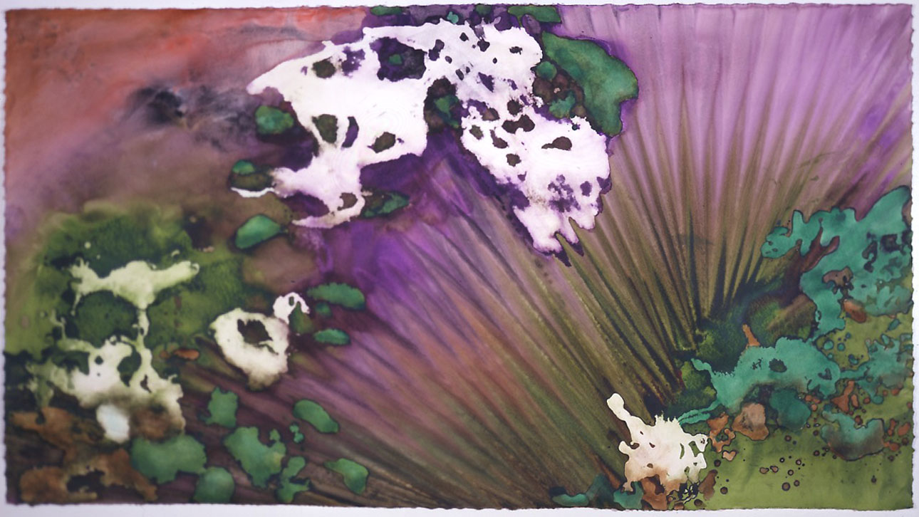 """""""Forest Moss"""" 2000, Forest Moss Series, acrylic on paper, 38 x 68 in (97 x 173 cm)."""