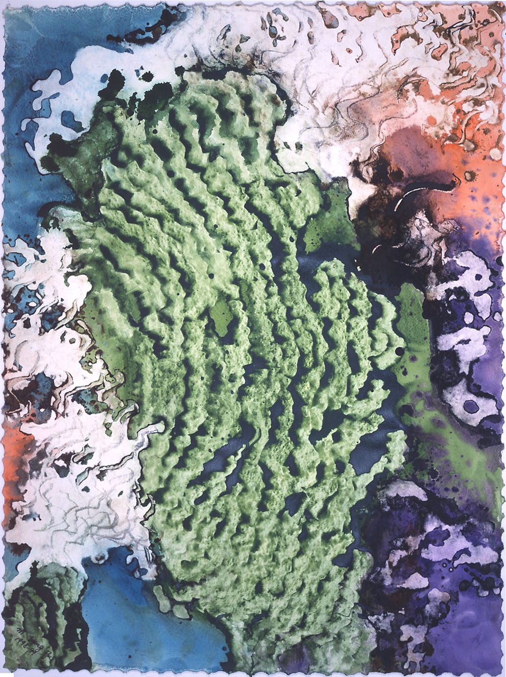 """""""Moss Carpet"""" 1998, Forest Moss Series, acrylic on paper, 42 x 32 in (107 x 81 cm)."""