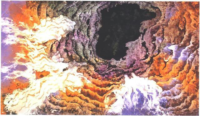 """Black Hole II"" 1987, Black Hole Series, acrylic on paper, 42 x 72 inches (107 x 183 cm)."