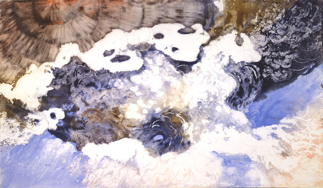 """""""White Cloud as Dog"""" 1988, Space and Universe, Cloud as Dog Series, acrylic on paper, 42 x 72 in (107 x 183 cm)."""
