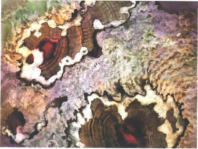 """Ruby Veil"" 1992, Cave Treasure Series, acrylic on paper, 32 x 42 feet (81 x 107 cm)."