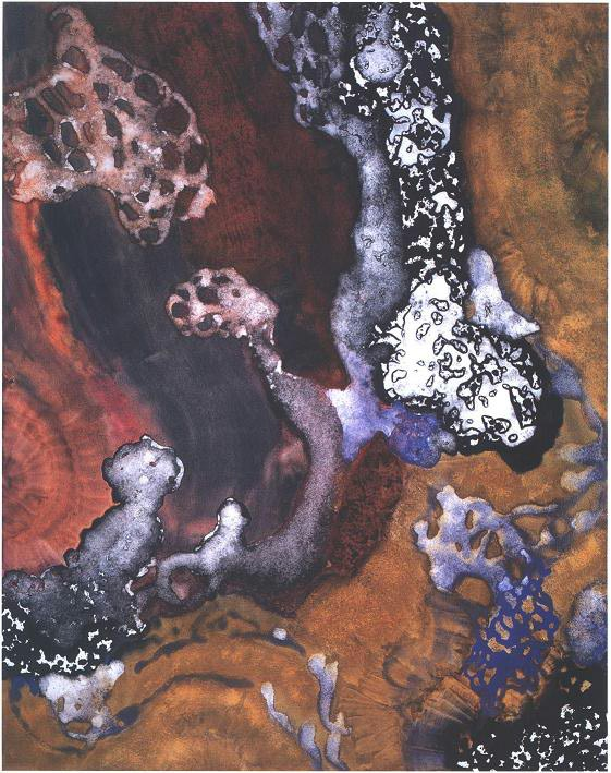 """""""Unearthed Cave Treasure"""" 1994, Cave Treasure Series, acrylic on canvas, 60 x 48 inches (152 x 122 cm)."""