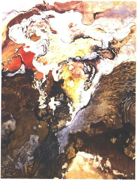 """""""Cave Painting"""" 1990, Cave Garden Series, acrylic on paper, 42 x 32 in (107 x 81 cm)."""