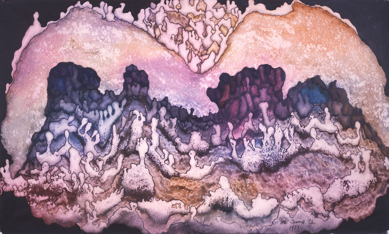 """Cave Garden"" 1983, Cave Garden Series, acrylic on paper, 36 x 60 in (91 x 152 cm)."