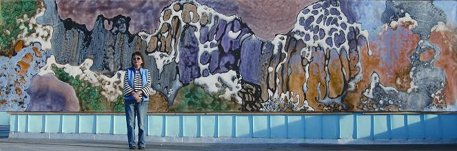 """""""Earth - Element of Life"""" 2004, with Artist, Cave Garden Series, acrylic on canvas, 8 x 33 feet (244 x 1006 cm)."""