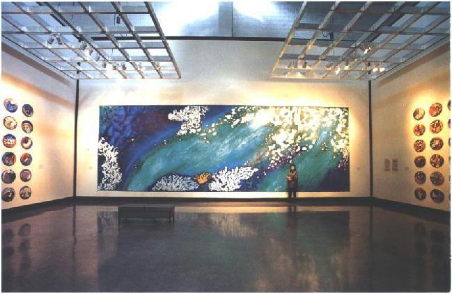 """Undercurrent"" Las Vegas Museum Installation, with Artist, Deep Sea Garden Series, acrylic on canvas, 12 x 36 feet (366 x 1097 cm)."