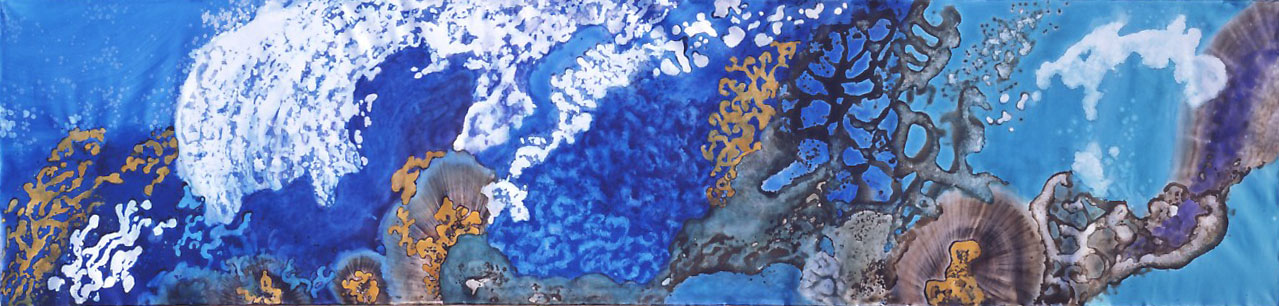 """Water - Element of Life"" 2004, Deep Sea Garden Series, acrylic on canvas, 8 x 33 feet (244 x 1006 cm)."