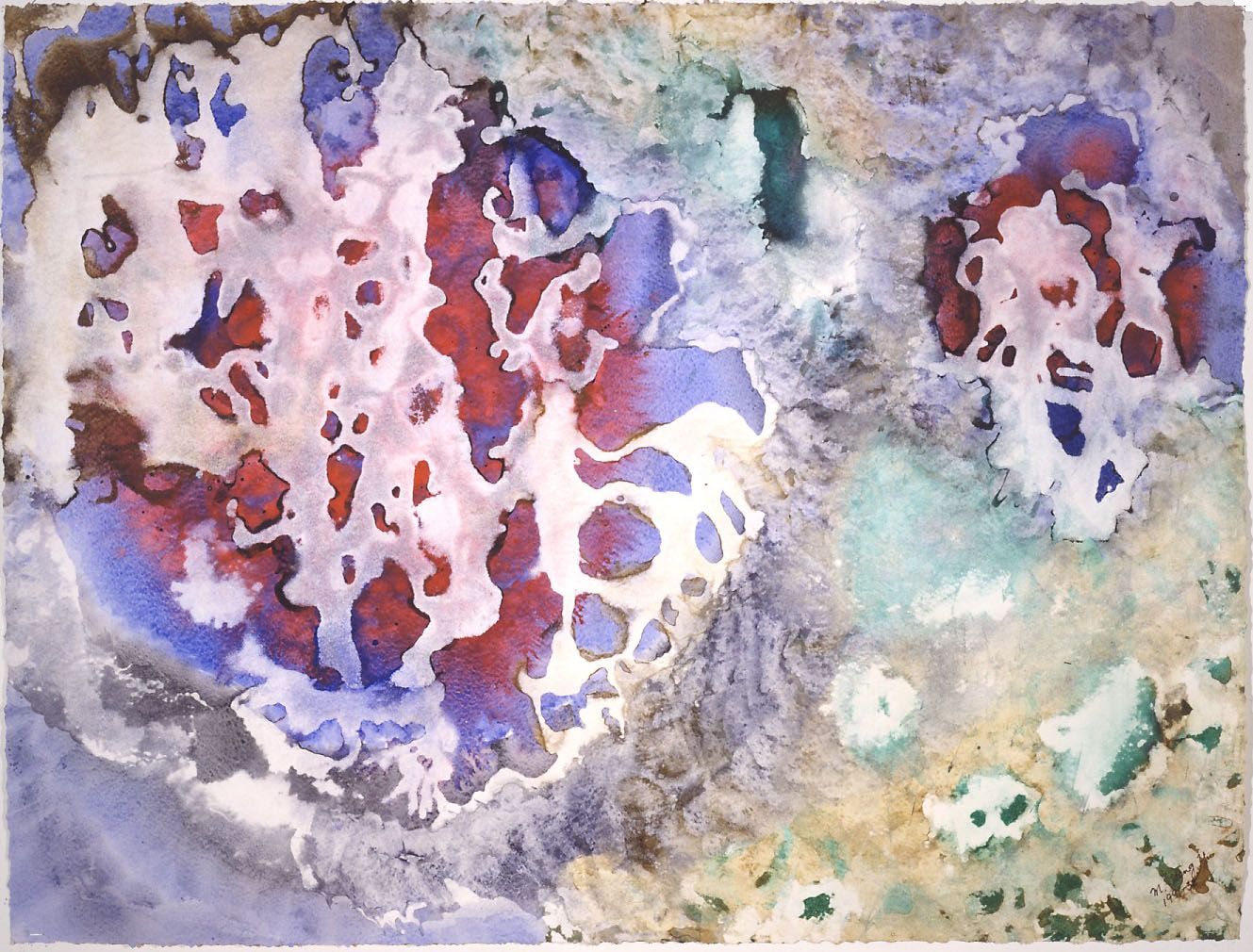 """""""Dancing Coral"""" 1991, Dancing Coral Series, acrylic on paper, 32 x 42 in (81 x 107 cm)."""