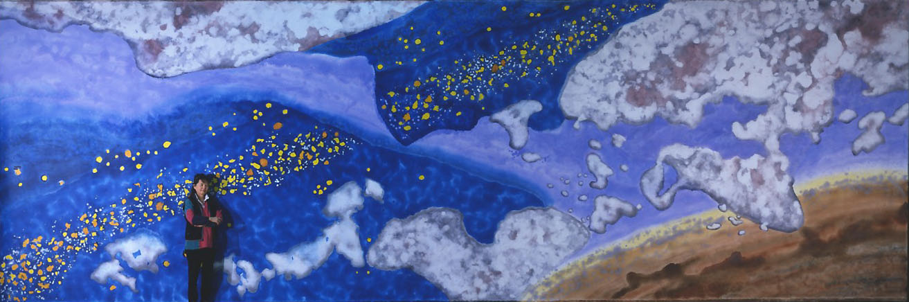 """""""Song of the Universe"""" 2003, with Artist, Galaxy and Milky Way Series, acrylic on canvas, 12 x 36 feet )366 x 1099 cm)."""