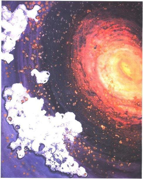 """Galaxy"" 196, Galaxy and Milky Way Series, acrylic on canvas, 48 x 60 inches (122 x 152 cm)."