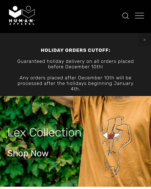 HOLIDAY ORDER CUTOFF IS DECEMBER 10TH! Any orders placed before December 10th will be guaranteed for holiday delivery.  Any orders placed after December 10th will be processed after the holidays beginning January 4th.  Get your holiday orders in soon!  #clothing #clothingline #clothingbrand #holidayorders #holidayseason #human #humanapparel #weareallhuman #weareone #lifestyle #lifestylebrand