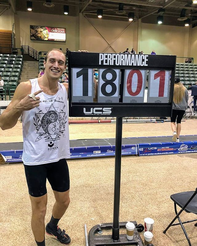 "Congrats to our H.U.M.A.N. Athlete, @a_milli29 Austin Miller, for winning the open section of the National Pole Vault Summit with a new PR of 18'1""! Always representing H.U.M.A.N. Apparel even at meets!  Keep it up Austin!  #clothing #clothingline #humanapparel #human #loveequally #weareallhuman #weareone #lifestyle #lifestylebrand #polevault #polevaultpower #flickystick #dontworrymomanddad #darkhorse #takenotice"
