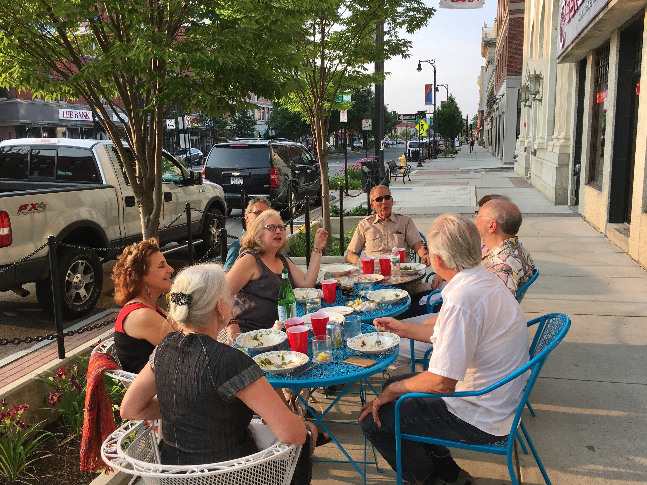 Sidewalk dining outside of Brooklyn's Best on North Street.