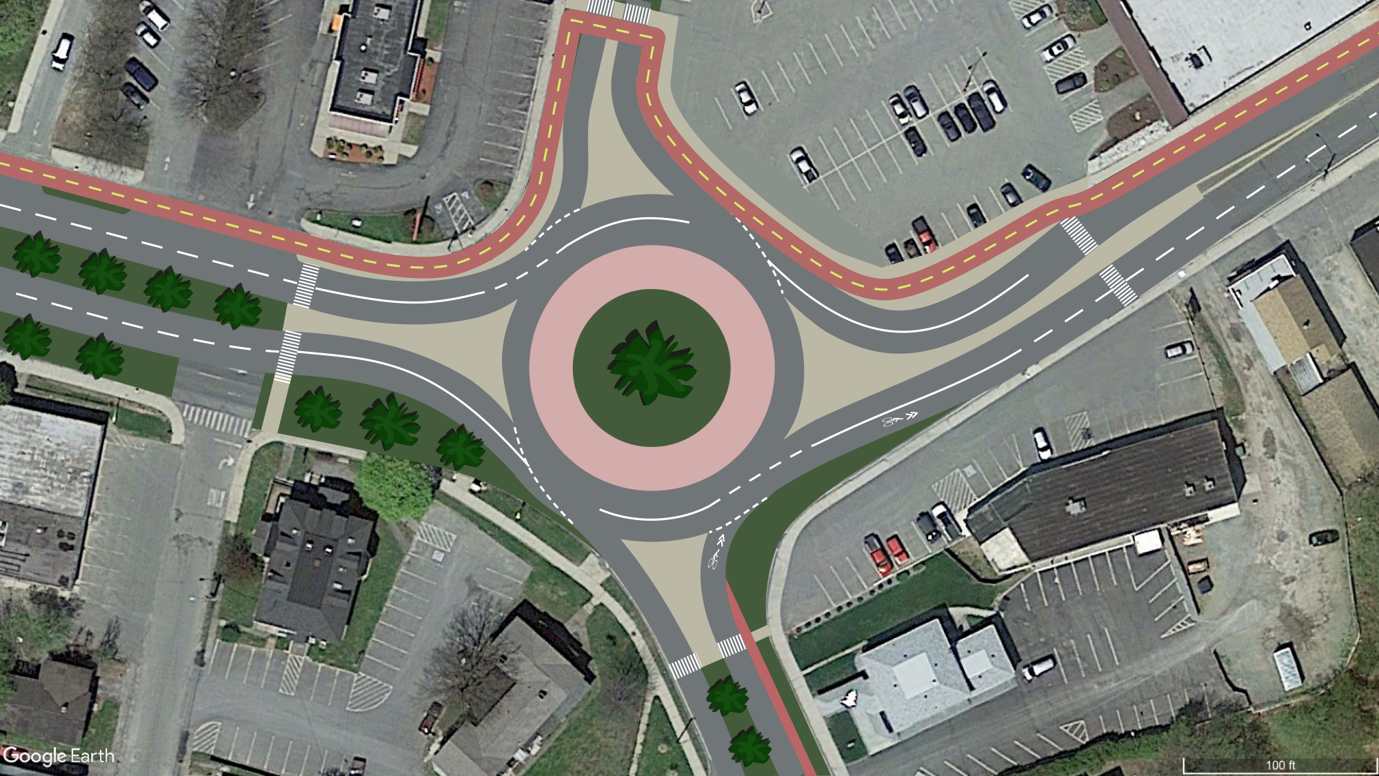 Concept of roundabout at East Street and Elm Street, along with a two-lane bicycle route connecting downtown with William Stanley Business Park.