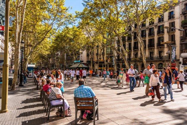 """A street where """"jaywalking"""" cannot exist. La Rambla, Barcelona, Spain. (Source:  https://www.shutterstock.com/image-photo/barcelona-spain-june-02-crowded-la-151691564?src=gXgL5dp6L_nJew4OMw1EbA-1-0 )"""