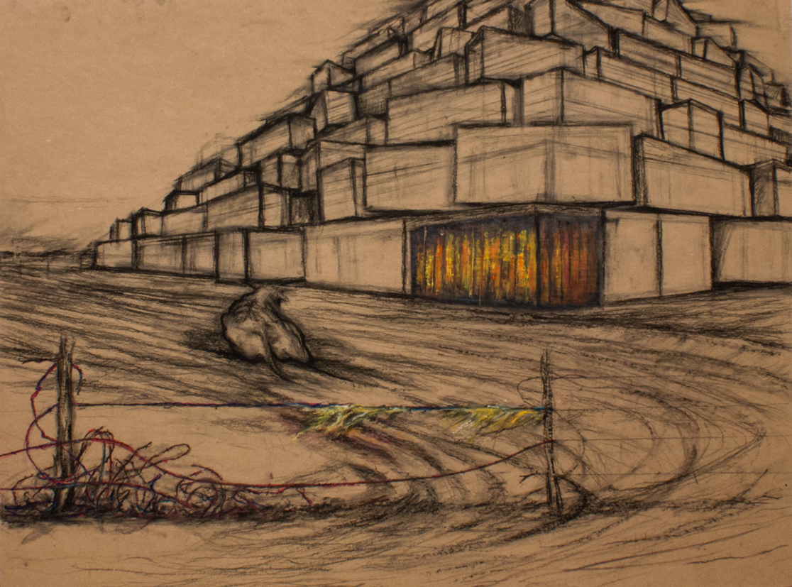 'Waller Landscape with Tower of Babel' panel 2 of 4 - sketch