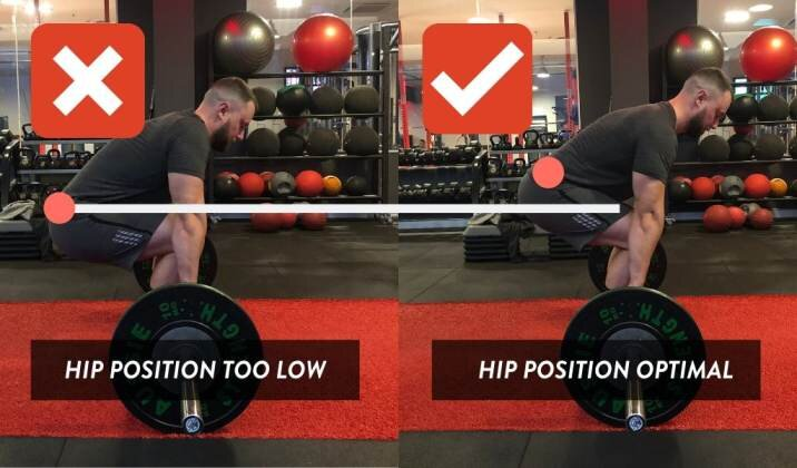 A hip position that is too low can cause knee pain while deadlifting