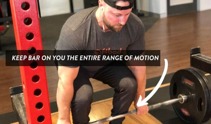 Keep the bar on you throughout the entire range of motion to reduce stress on the knee joint