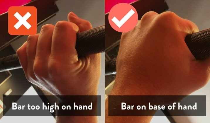 Placeing the bar too high on the hand can cause wrist pain while bench pressing