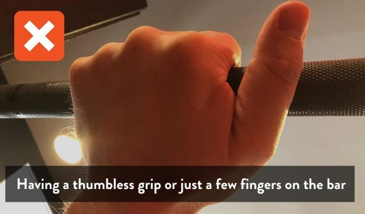 Having a thumbless grip on the bar can cause wrist pain while bench pressing.jpg