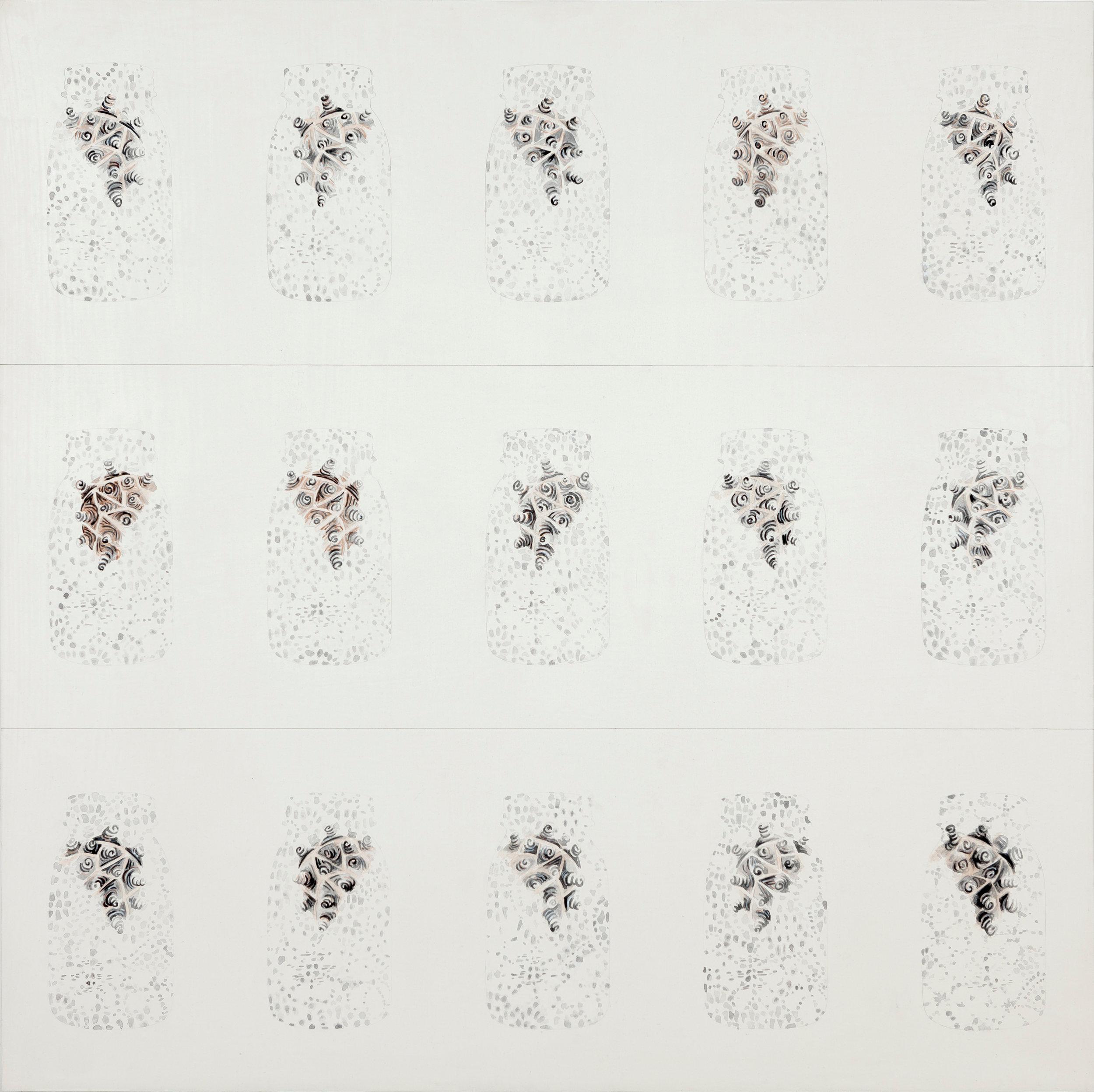 mattoon 14, 2014  gouache, ink, graphite, absorbent ground on birch  36 x 36 inches