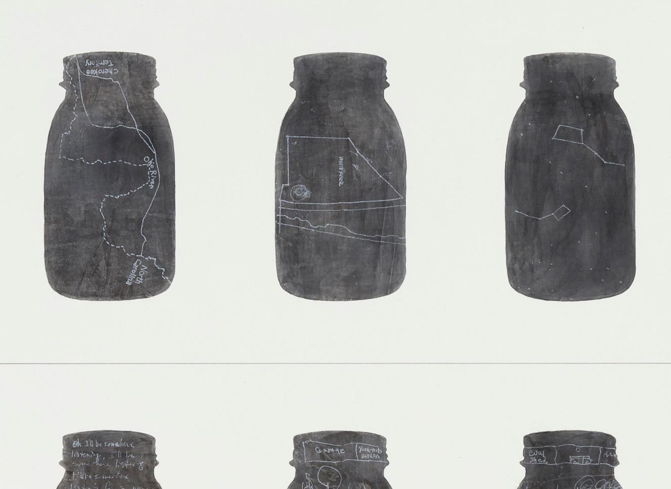 mattoon 16, 2014 (detail)  ink, acrylic, graphite, chalk, absorbent ground on birch  36 x 36 inches