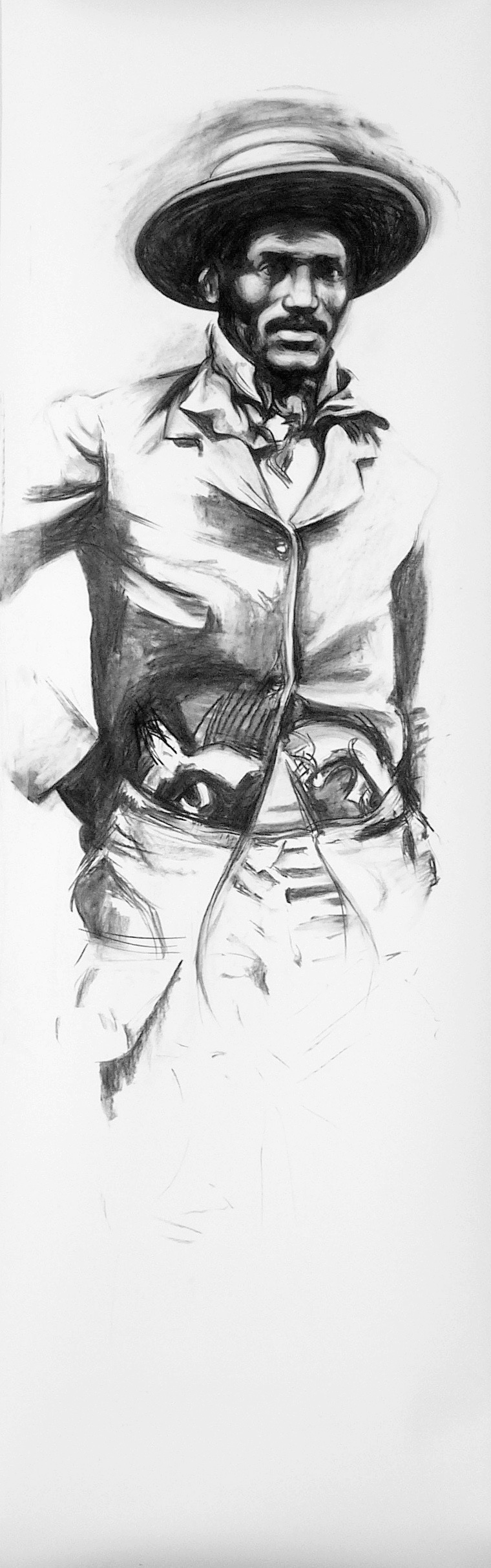 30 Isom Dart, 2005, Vine charcoal on paper,_89 x 29 in._.jpg