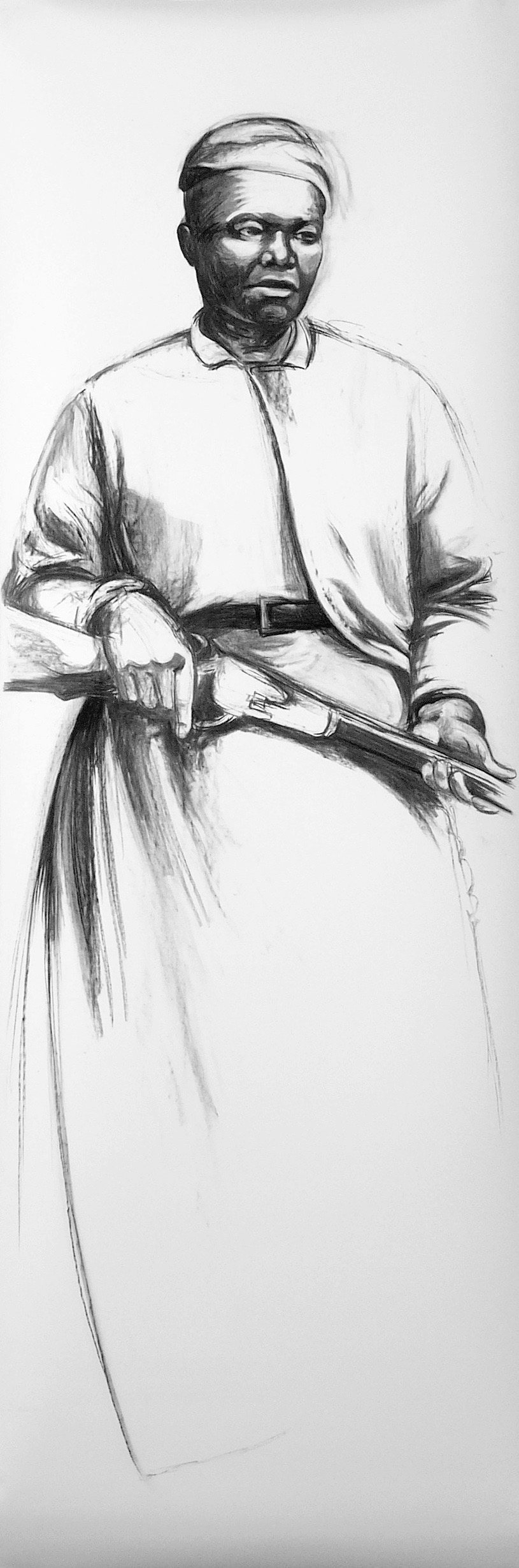 mary fields, 2005  Vine charcoal on paper  92 x 31 inches