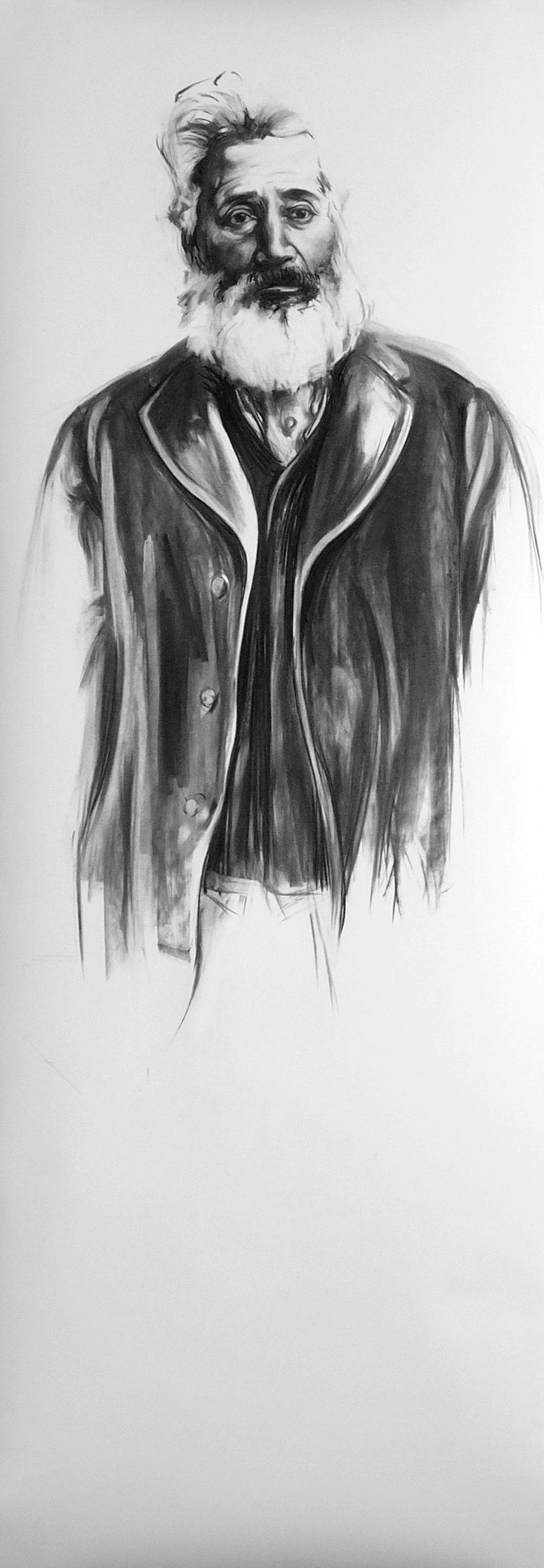 austin tann, 2005  Vine charcoal on paper  87 x 30 inches