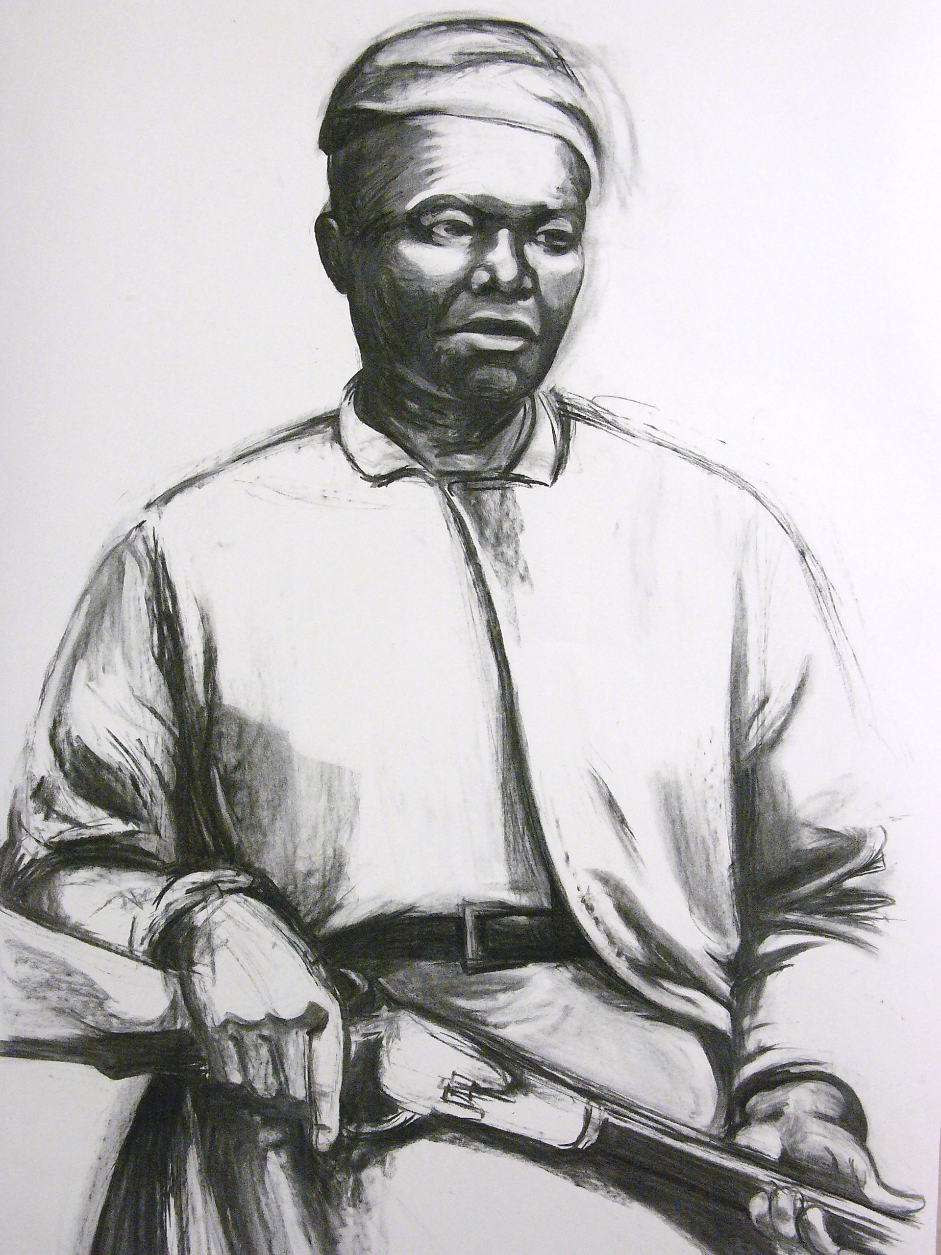 mary fields (detail), 2005  Vine charcoal on paper  92 x 31 inches