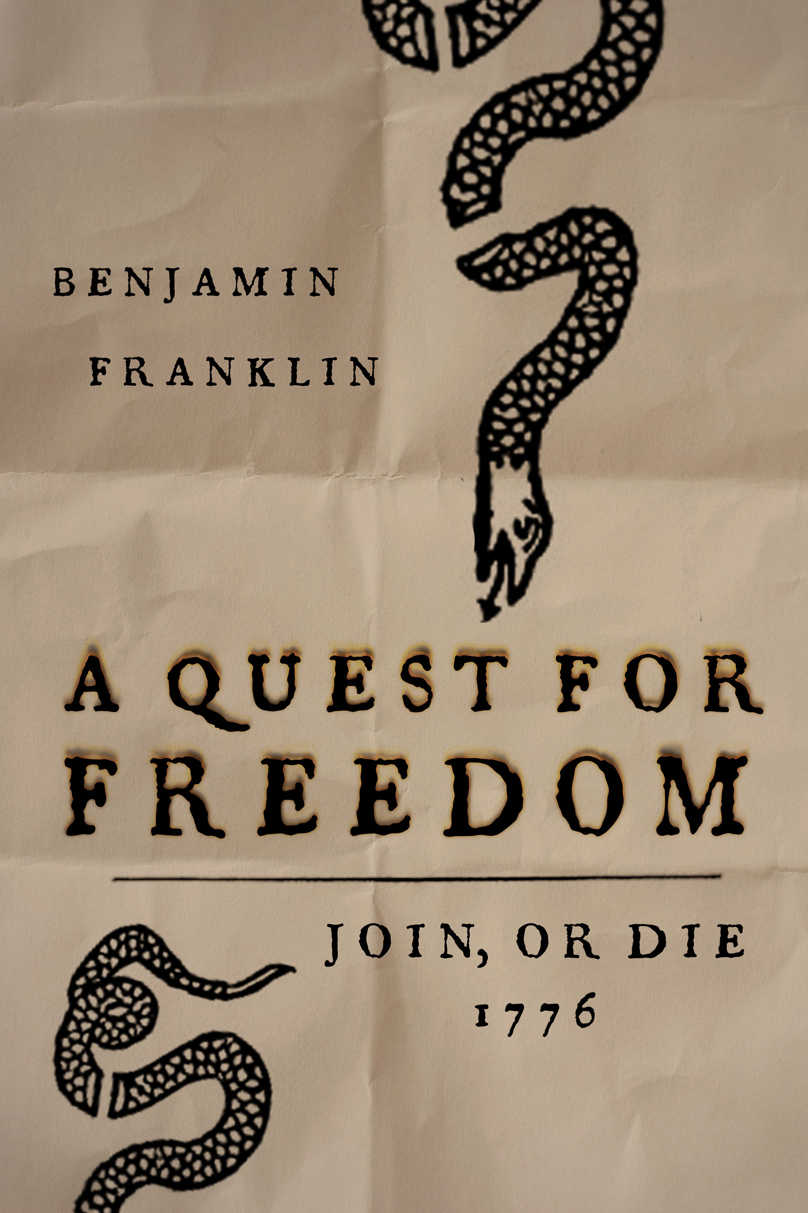 Poster design for Olde City Escape Game's first escape room adventure, Benjamin Franklin A Quest for Freedom. Benjamin Franklin's political Join or Die cartoon and historical type are designed on parchment to mimic the printing press effect Benjamin Franklin would have printed in. Players must operate Benjamin Franklin's press to help the colonies win the war against the British!
