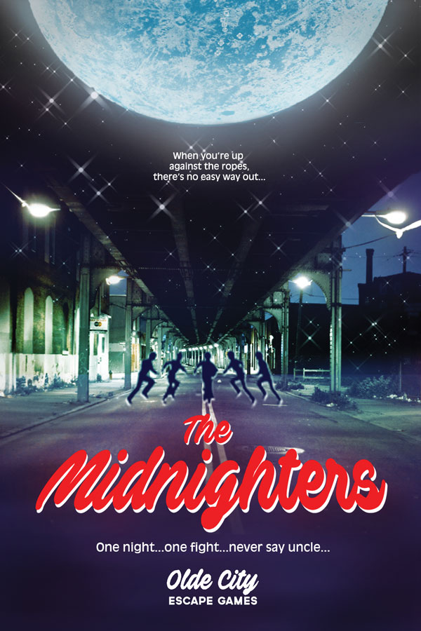 Olde City Escape Game's second escape room: The Midnighters, where friends go on to play Stranger Things meets Goonies style adventure to recover the valuable moon rock, stolen from the Philadelphia 1976 Bicentennial Time Capsule
