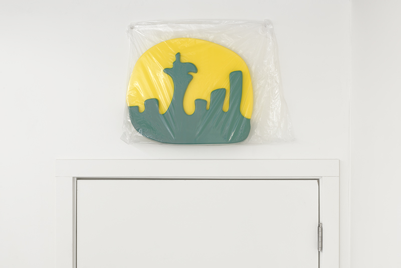 Emerald City. Painted formed plastic, plastic bag, 19 x 16 x 2 inches, 2018.