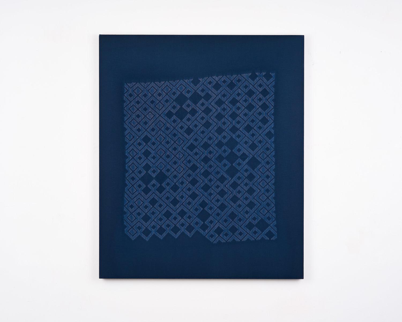 Untitled (01.03-01.31), stitch resist cyanotype, 2019.