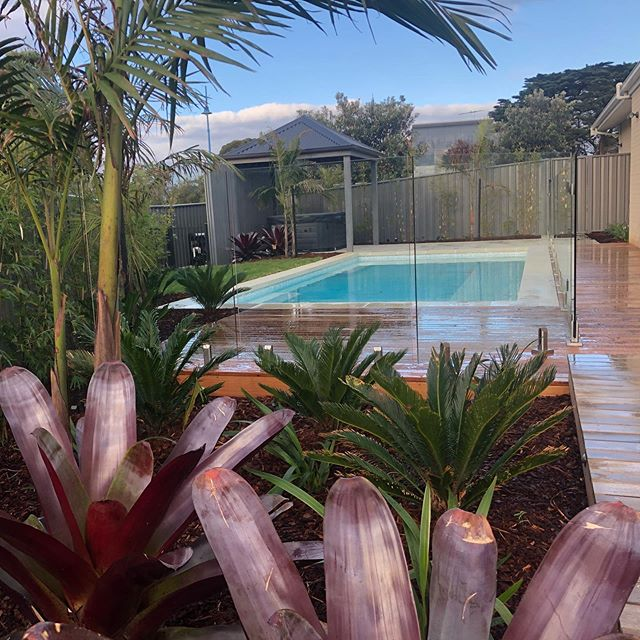 Our St Leonards project is finished! 🎊🎉🎈🕺🏻 I've been looking forward to this project since first seeing the design by @georgiaharperlandscape 16 months ago as the style is right up my alley 👌🏼 Looking forward to seeing it develop over the next 12 months with some warmer weather 😍 #landscapedesign #stleonards #InStyle #Gardens #tropical #pool #landscapeconstruction #316dayslater #masterlandscaper #registeredbuildingpractitioner #locals #landscaping #bellarinepeninsula #geelong #landscapinggeelong #bellarine #landscape #paving #decking #pooldesign #plants #spa #pergola #onewiththelot #landscapingvictoria #resort #style #living