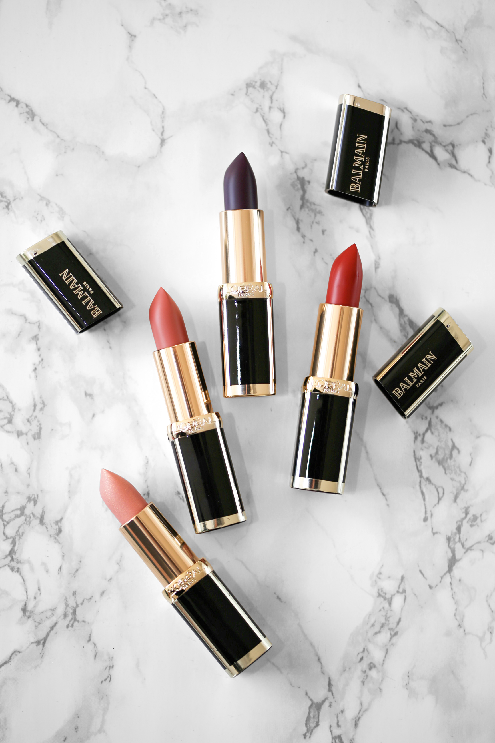 L'Oreal X Balmain Couture LIPSTICK collection - Confidence, Liberation, Domination, Confession Swatches