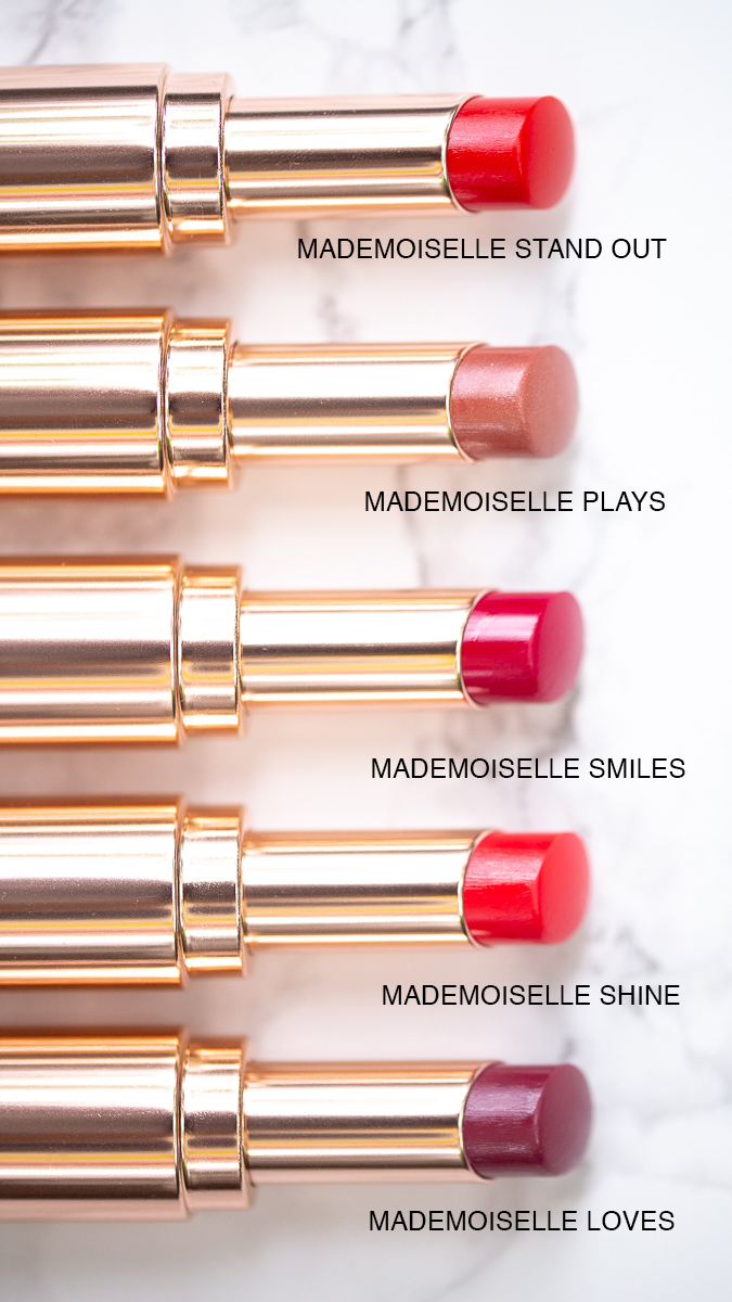 Lancome Mademoiselle Shine Lipsticks, Play, Smiles, Shine, Loves, Stand Out, beauty lipstick blog by nathalie martin, lipsick.me 1.jpg