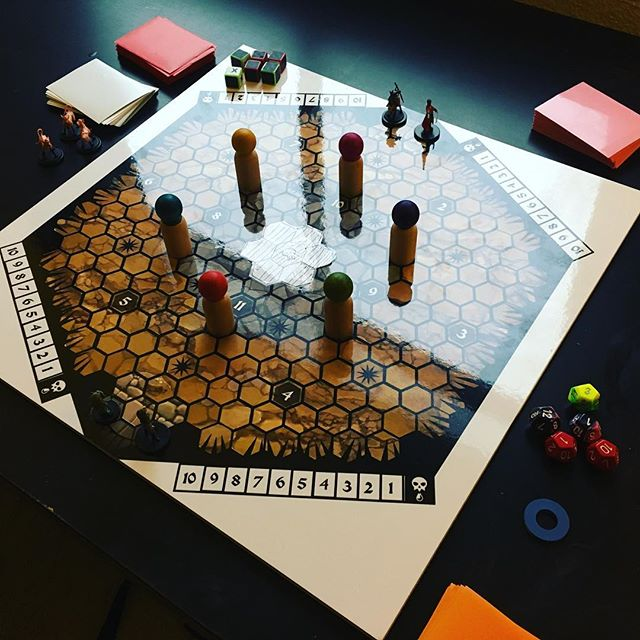 "our prototype board for our new board game ""Are You Not Entertained"" came in! so excited to playtest with it. major props to @hi_fangz for designing the board, the guy is a machine."