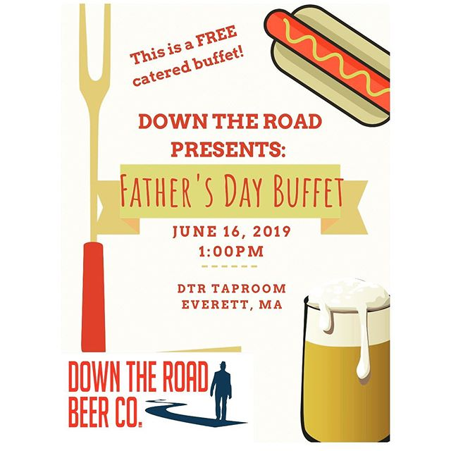 Join us at the taproom this Sunday for a FREE Father's Day Buffet!!!! Lunch will be served at 1:00pm!! #fathersday #beer #free #everett #brewery #craftbeer #dads