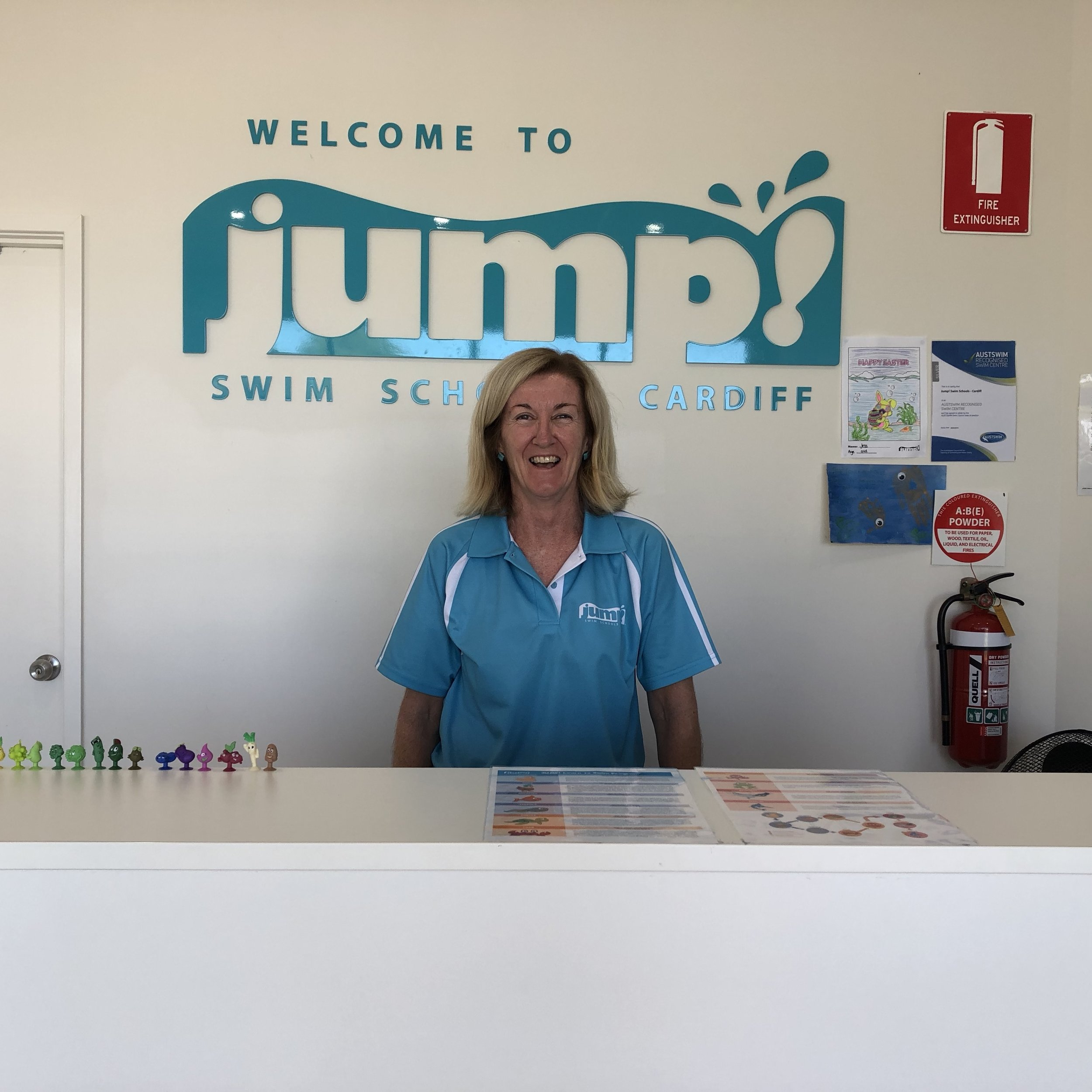 """A friendly, familiar face at reception is an essential element of success."" Louise, franchise owner at Jump! Swim School Cardiff. And Louise actually does smile while she is at work."