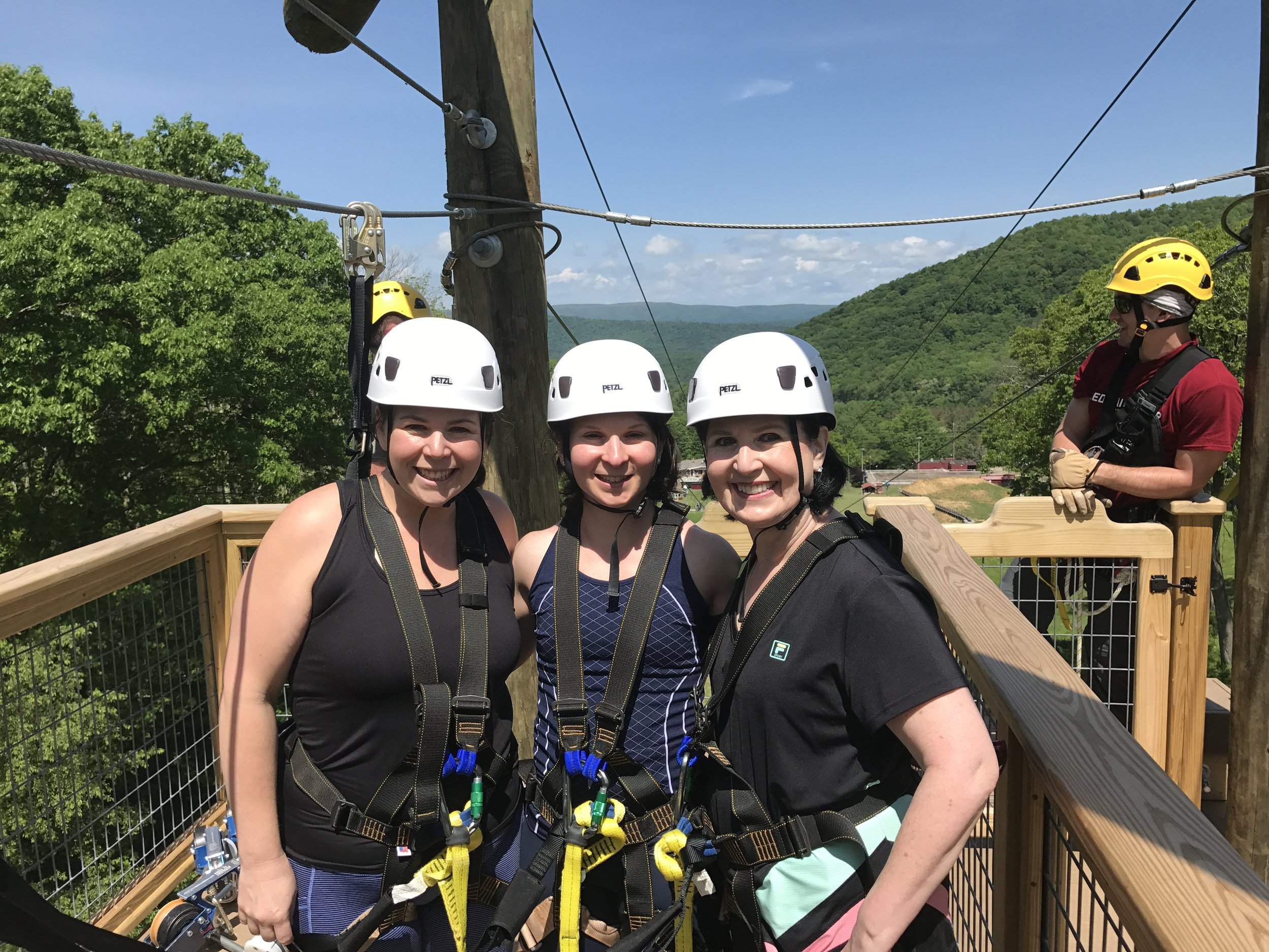 My sister, my mom and I - ziplining in Virginia