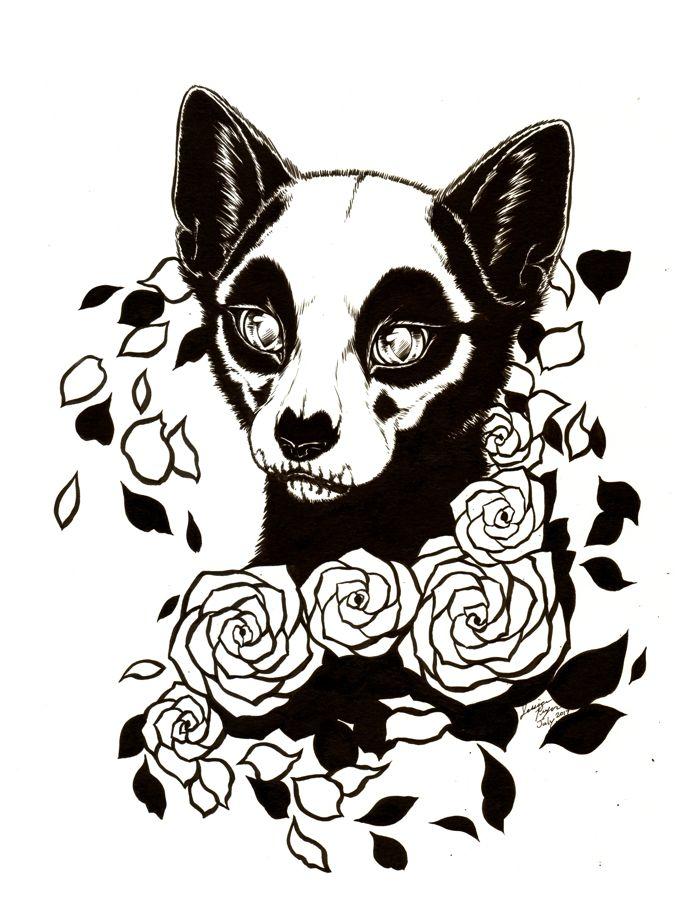 cat of grim - Koh-I-Noor ink applied by brush on 11x14 Bristol paper.2017