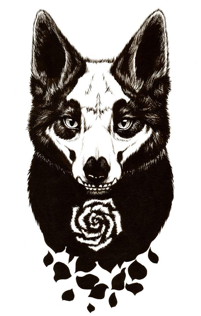 Fox of grim - Koh-I-Noor ink applied by brush on 9x12 multimedia sketchbook page.2016