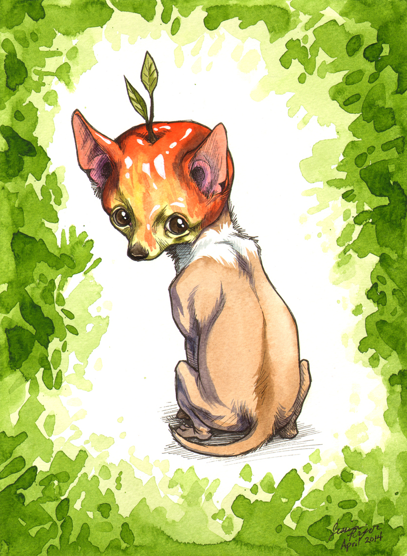 apple head chihuahua red - Pen & ink with water color on 9x12 water color paper.2014