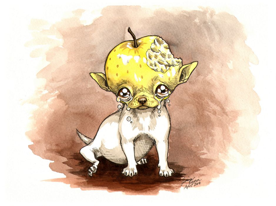 apple head chihuahua yellow - Pen & ink with water color on 9x12 water color paper.2014